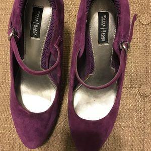 WhiteHouse BlackMarket purple velvet heels